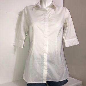 Simon Chang Classic White Chic Button Down Shirt